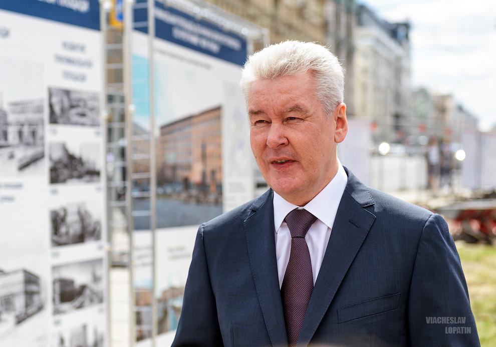 Сергей Собянин на Триумфальной площади