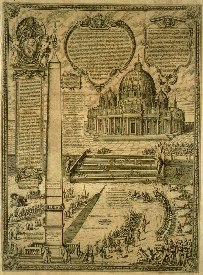 Установка обелиска перед собором Святого Петра