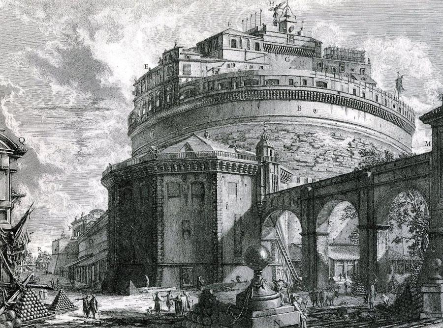 Замок Святого Ангела на гравюре Пиранези